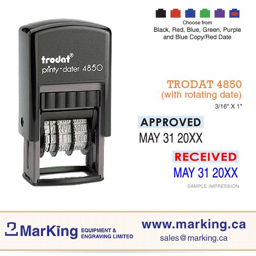 Paid, Trodat Printy Stamp Self-Inking Word and Date Stamp 4850 Date Stamp