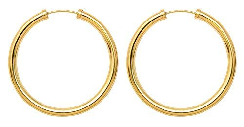 bc9568754 LooptyHoops Large Gold-Filled Sterling Silver Endless Hoop Earrings (3mm  Thick), (