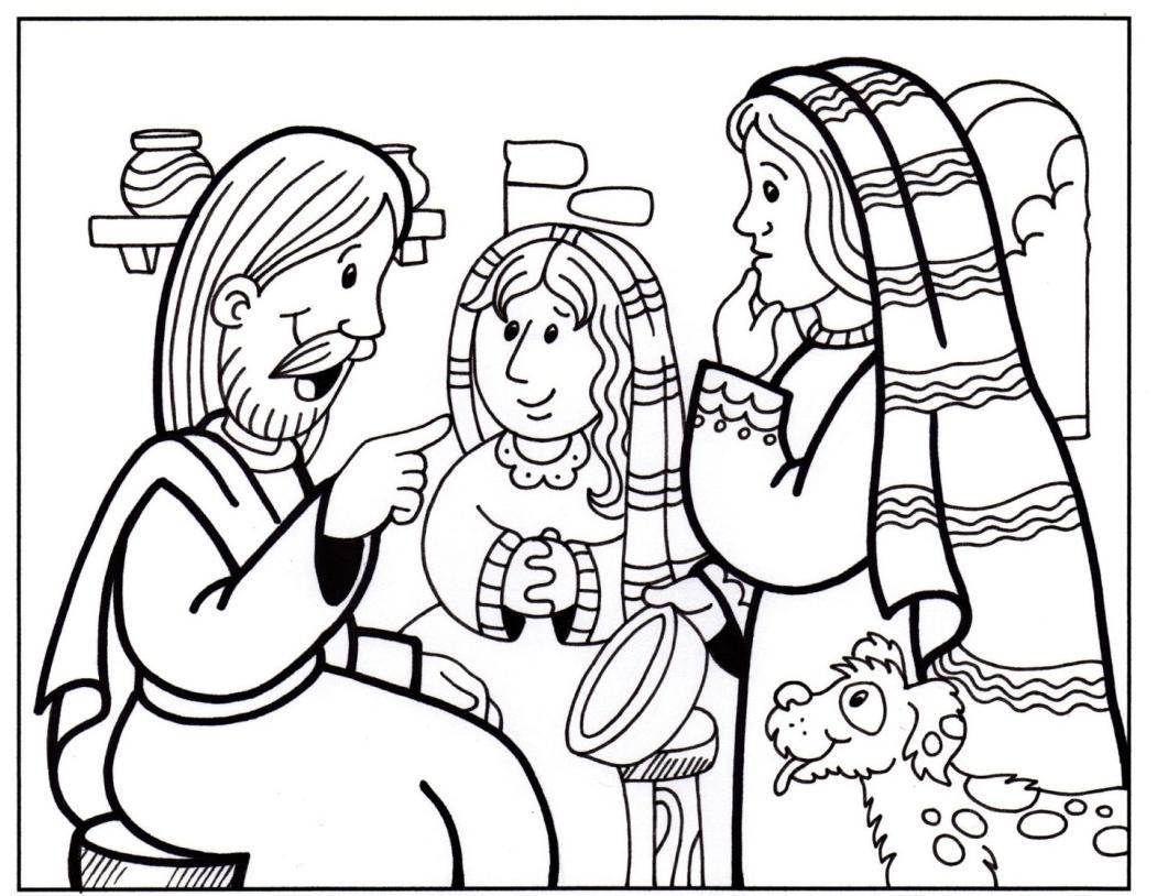 Maria e marta, Artesanatos bíblicos, Páginas de colorir da