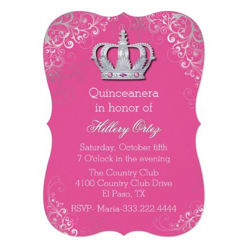 Chic Ornate Crown Quinceanera Invitation