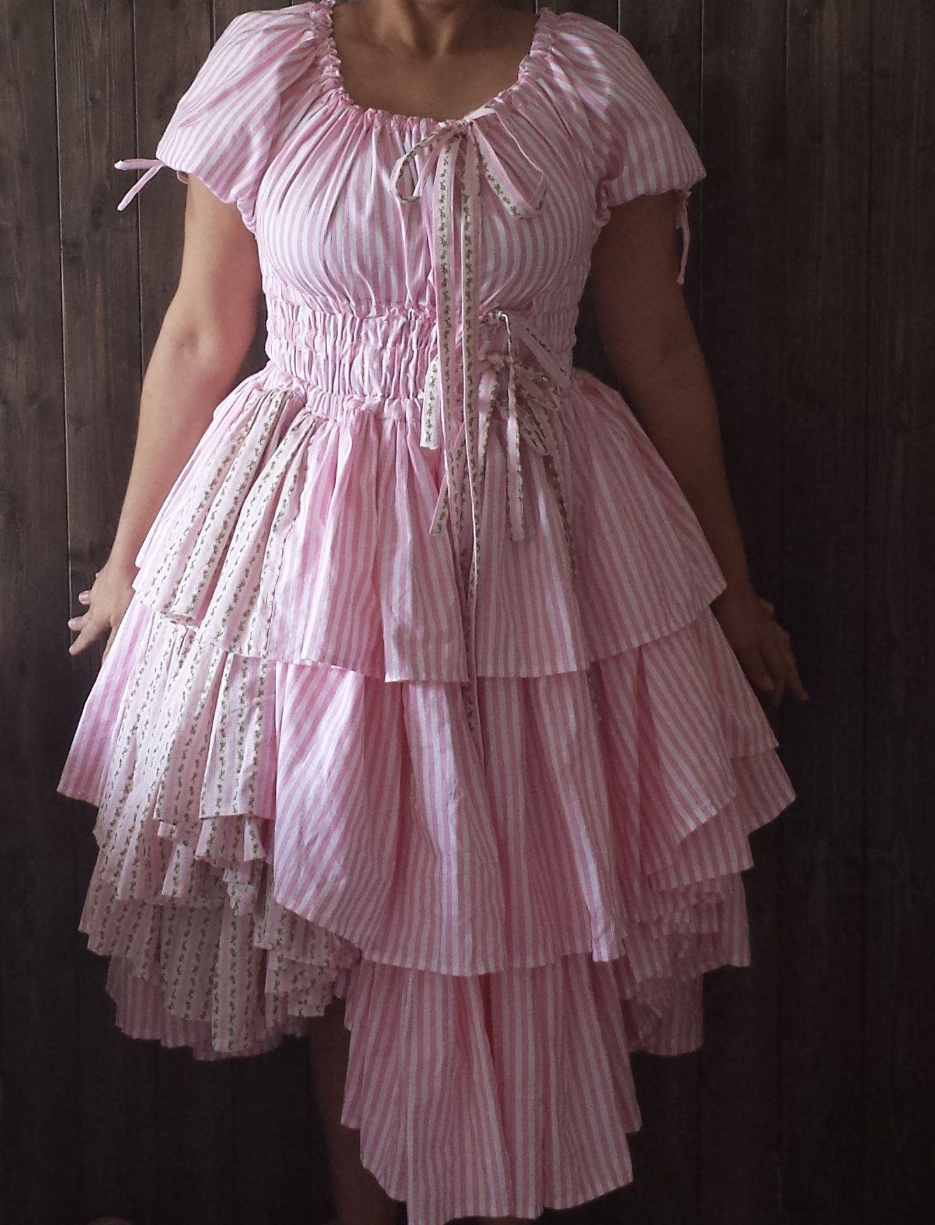https://www.etsy.com/listing/219192744/pink-peasant-corset-wedding-dress?ref=shop_home_feat_4  Lovely Corset Style Pink Layered Wedding Dress