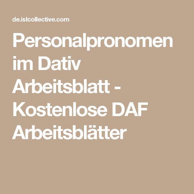 Personalpronomen im Dativ   Pinterest