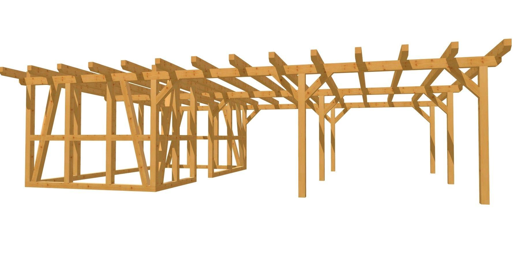 Carport mit Geräteschuppen Holz DIY Anleitung 9m x 6m