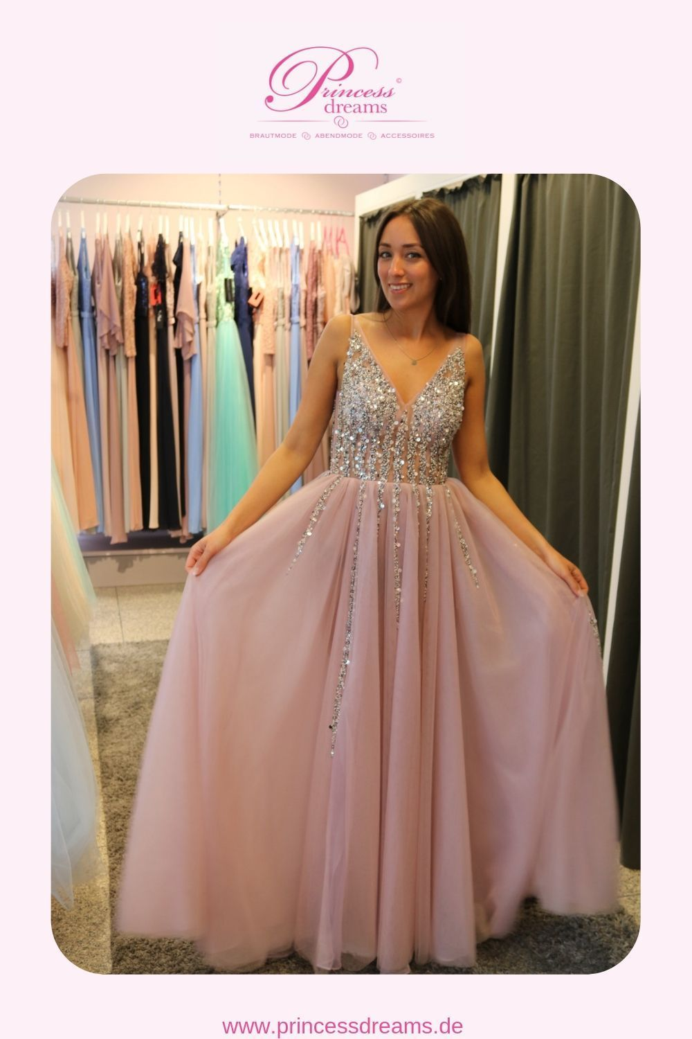 abiballkleid glitzer rosa bei princess dreams in berlin