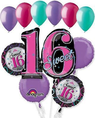 11 Pc Sweet 16 Sparkling Happy Birthday Balloon Bouquet 16th Sixteenth Hot Pink