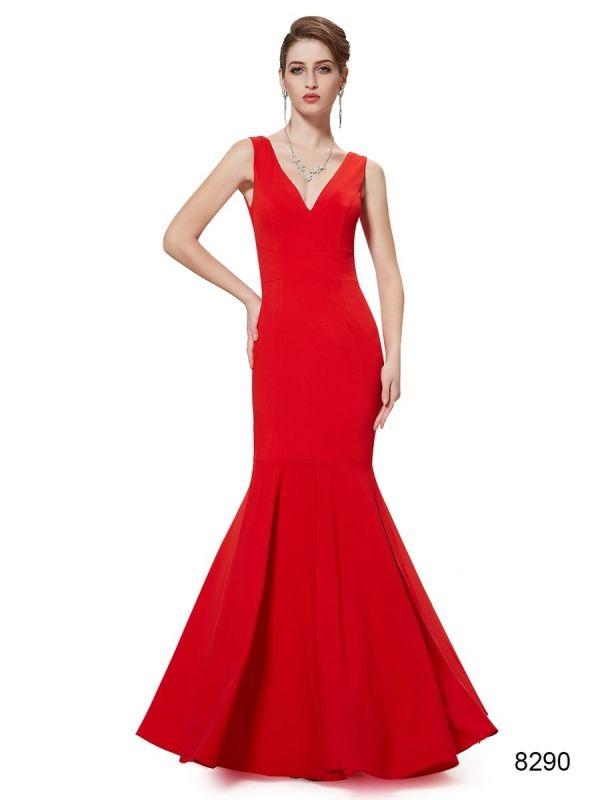 フィシュテールが美しいレッド系ロングドレス , ロングドレス・パーティードレスはGN 演奏会や結婚式に大活躍!