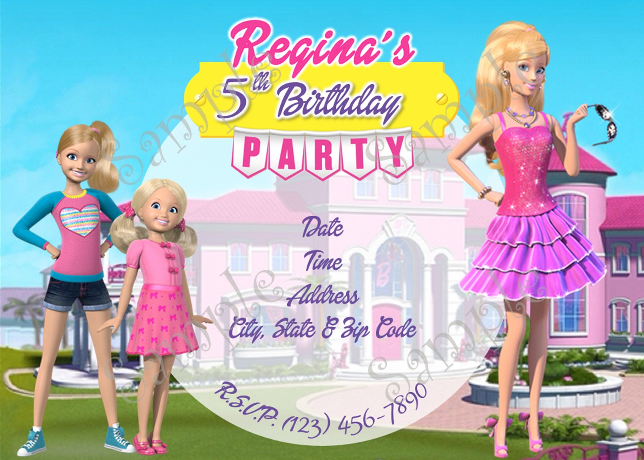 Barbie In The Dream House Birthday Party Invitation 5x7 Or 4x6