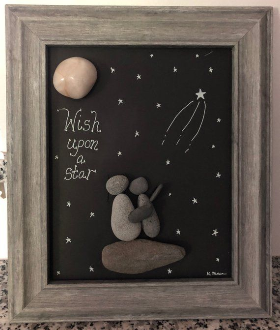 Items similar to Wish upon a Star pebble art, Child's room rock art, Nursery wall art, baby shower gift, on Etsy