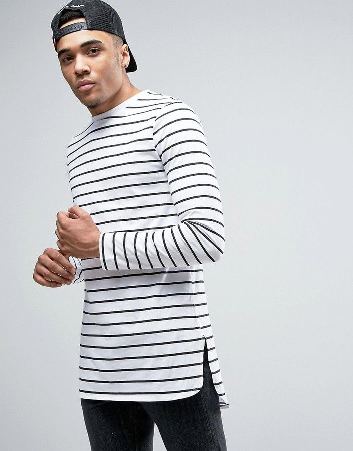 ASOS Stripe Super Longline Long Sleeve T-Shirt With Curved Step Hem ... c91d3c0615f