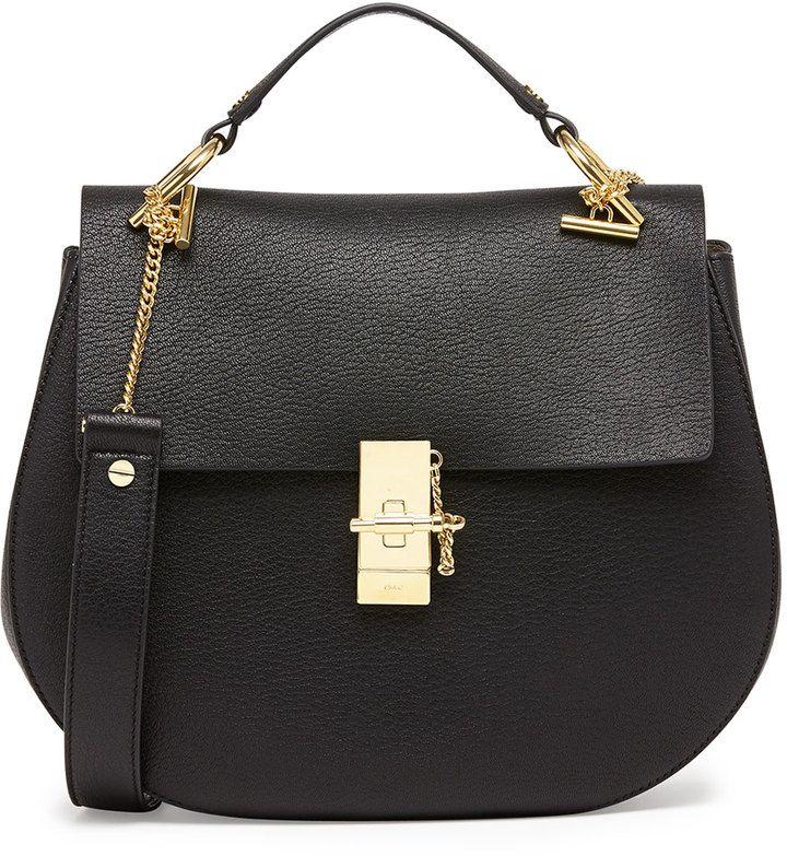 Chloe Drew Medium Calfskin Shoulder Bag, Black
