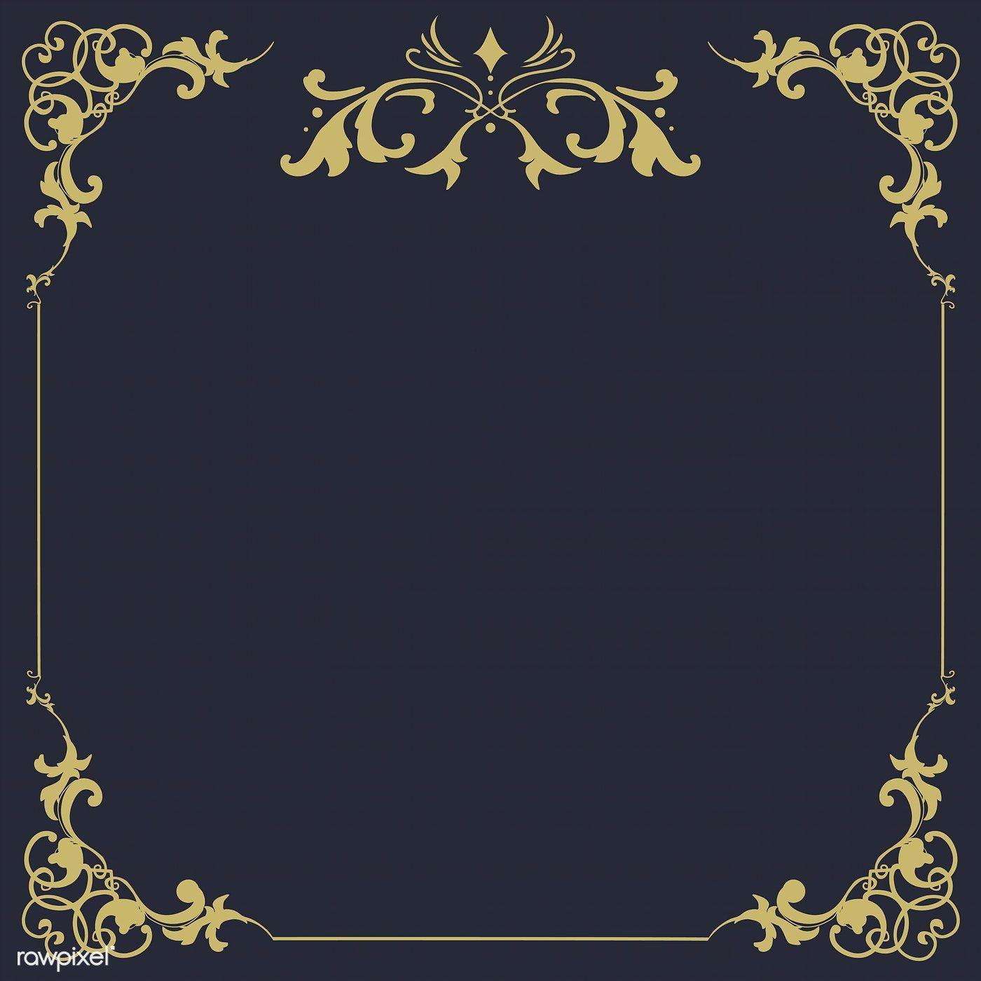 Download Premium Vector Of Vintage Flourish Ornament Frame Vector 511161 Ornament Frame Vector Art Design Gold And Black Background