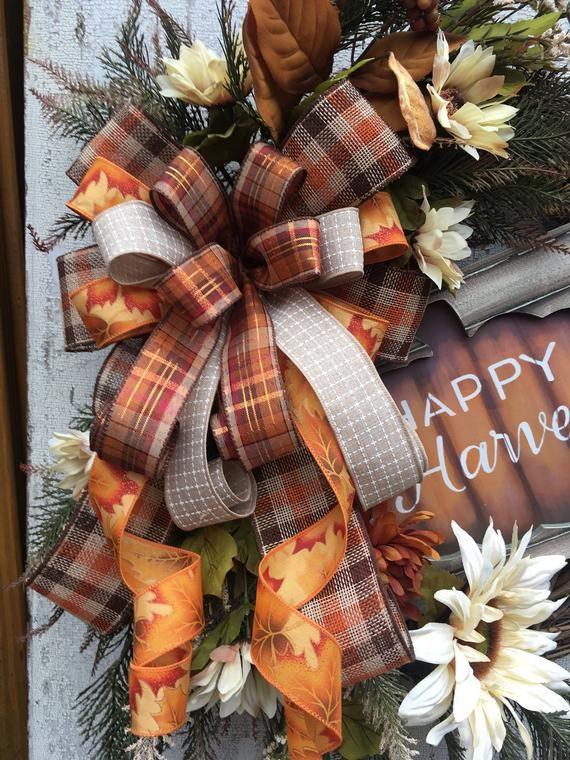 Photo of Herbstkränze für die Haustür, Happy Harvest-Kranz, Herbstkranz, Sonnenblumen-Herbstkranz