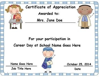 Career day awardscertificates editable certificate career career day certificate a thank you gift for the volunteers that come in for career yadclub Image collections