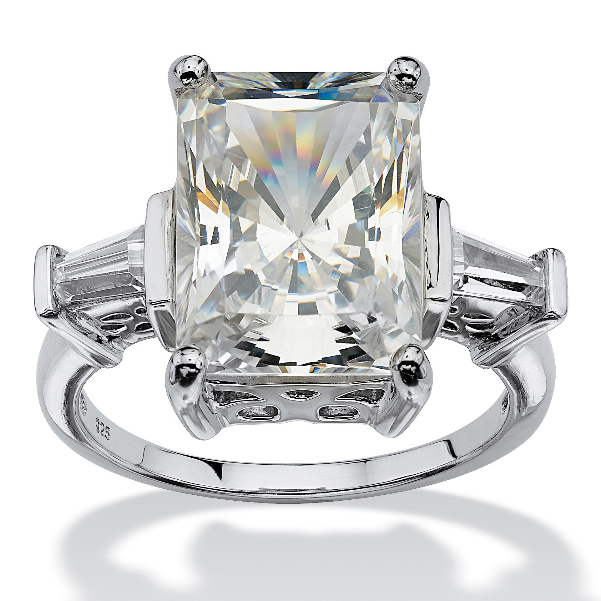 Palm Beach Jewelry PalmBeach 11.93 TCW Emerald-Cut Cubic Zirconia Platinum over Sterling Silver Bridal Engagement Cutout Ring Glam CZ