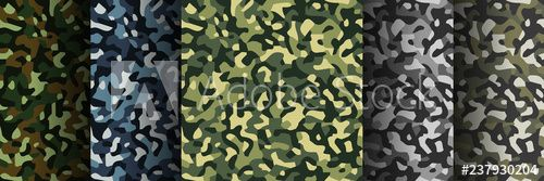Set of 5 pack Camouflage seamless patterns. Abstract modern military textile print background. Vector illustration. - Buy this stock vector and explore similar vectors at Adobe Stock