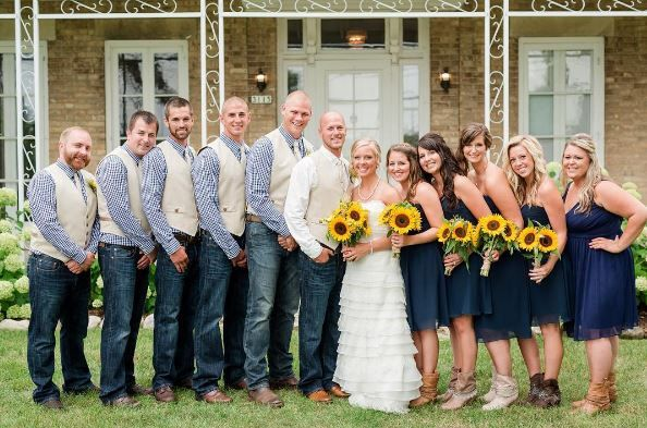 Sunflowers And Blue Jeans Jeans Wedding Country Wedding Groomsmen Bridesmaid Attire