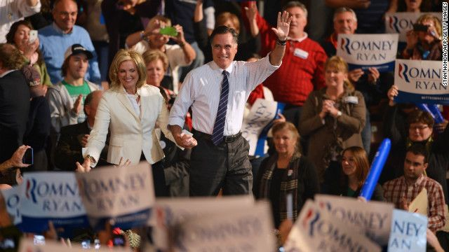 ann romney takes bigger role | ann romney campaign trail | Romney and his wife, Ann, greet supporters ...