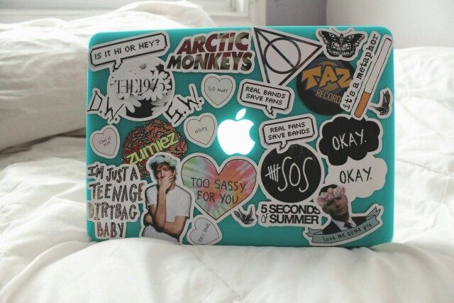 Laptop collage with stickers