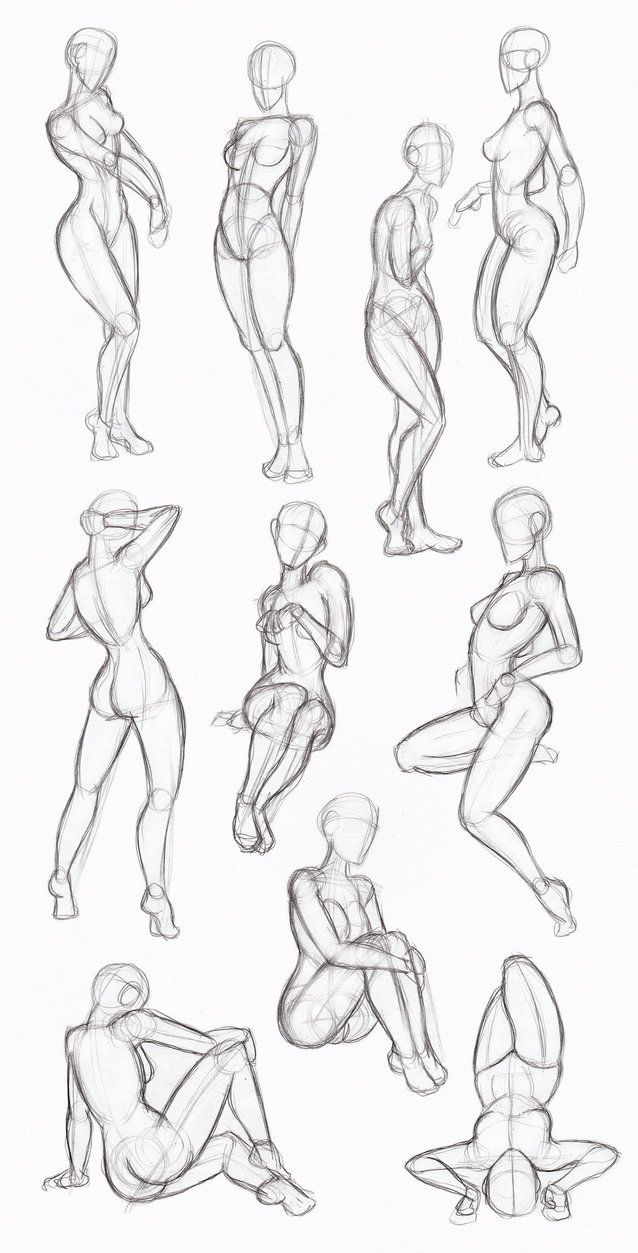 Körperhaltungen weiblich | Sketching | Pinterest | Körperhaltung ...