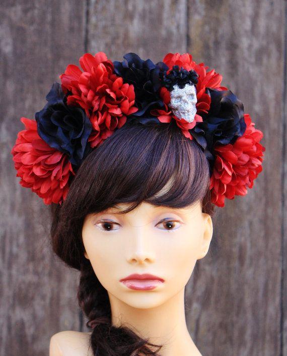 Dia De Los Muertos Headband Skull Flower Crown Headband Flower Crown Day Of The Dead Headband Halloween Halloween Headband Diy Crown Flower Crown Headband