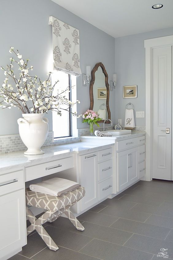6 Gorgeous Light Blue Grey Paint Colors For Calm Interiors Hello Lovely White Bathroom Cabinets Bathroom Wall Colors Grey Blue Bathroom