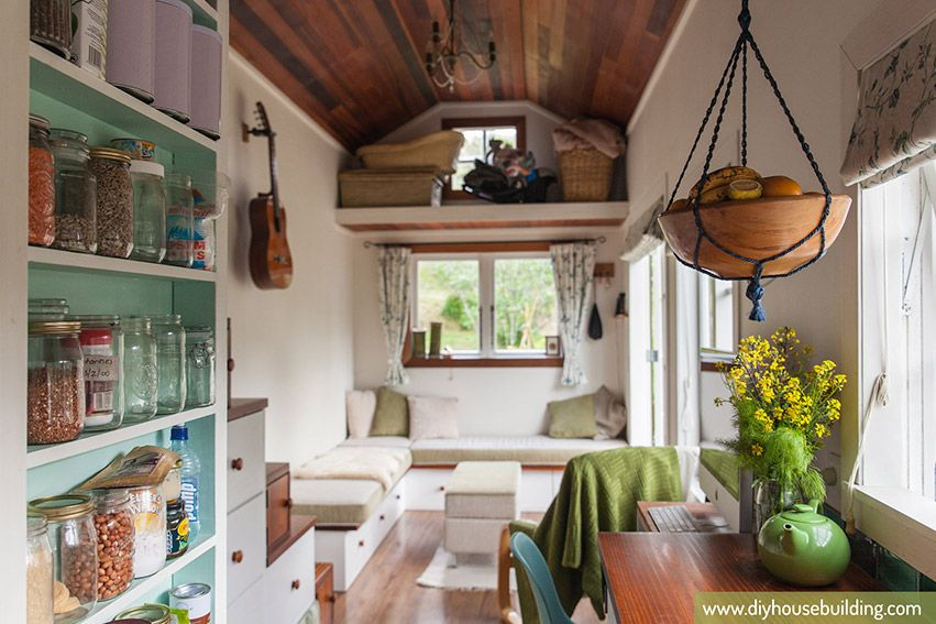 tiny house pictures life in our tiny trailer house one year on dining living from kitchen photos diyhousebuilding 2 pinterest tiny