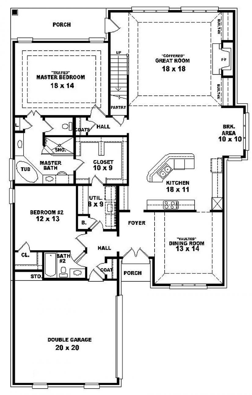 654287 one and a half story 4 bedroom 3 bath french - Single story four bedroom house plans ...