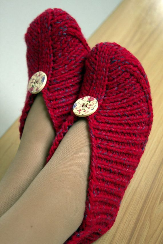 Knitted home slippers with wooden buttons red by CozyCappuccino, $38.00