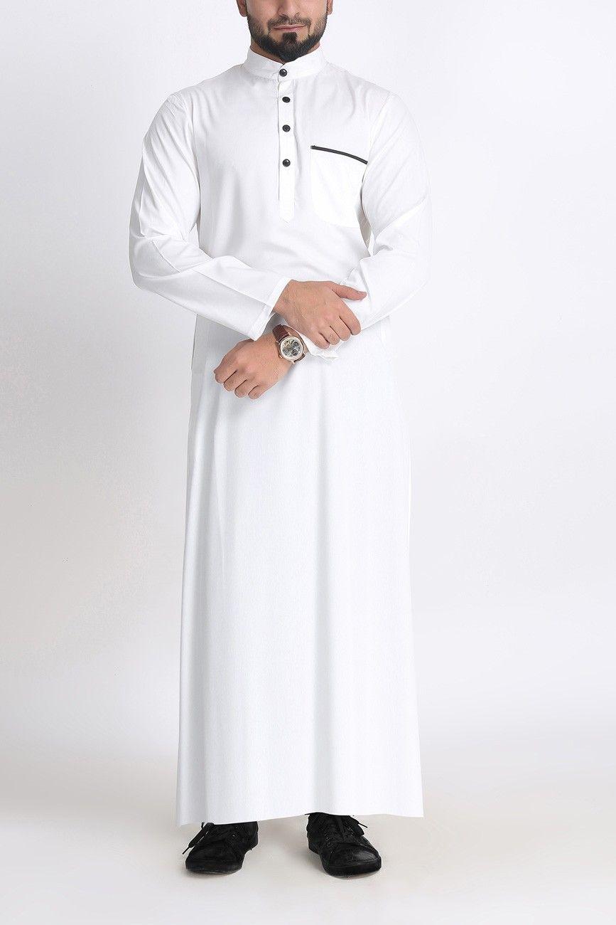 jubbah White mens Arab thobe Jubba