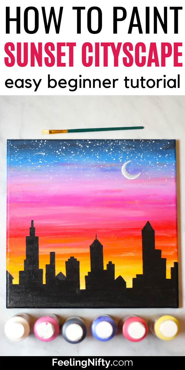 Photo of How to Paint a Sunset Cityscape For Beginners (Easy)