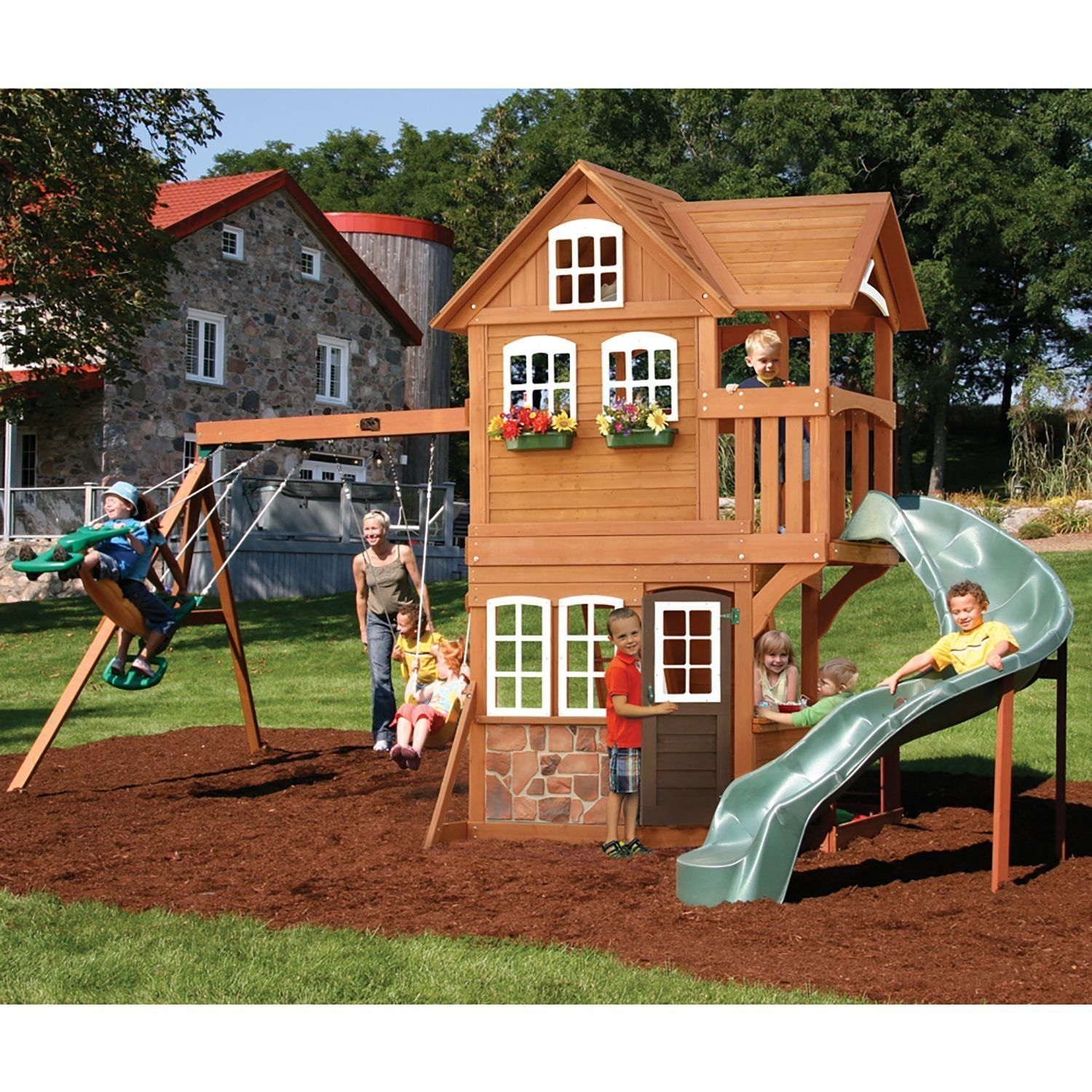 Backyard Playsets Outdoor Walmart Playsets Swing Sets Lowes Wood