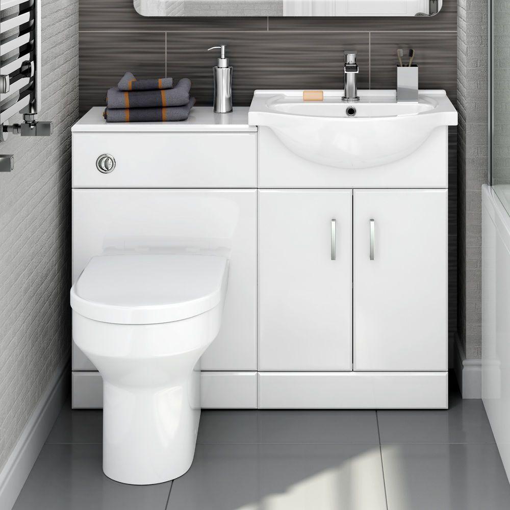 Modern Bathroom White Vanity Unit Countertop Basin Back To Wall Toilet Hgw655