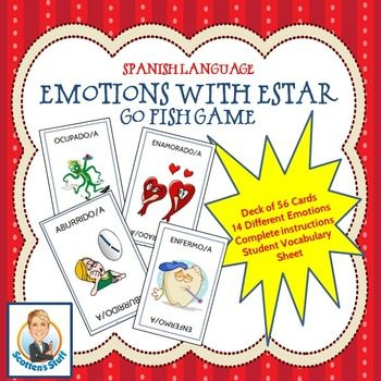 Adjectives Used with Estar:  Emotions Card Game