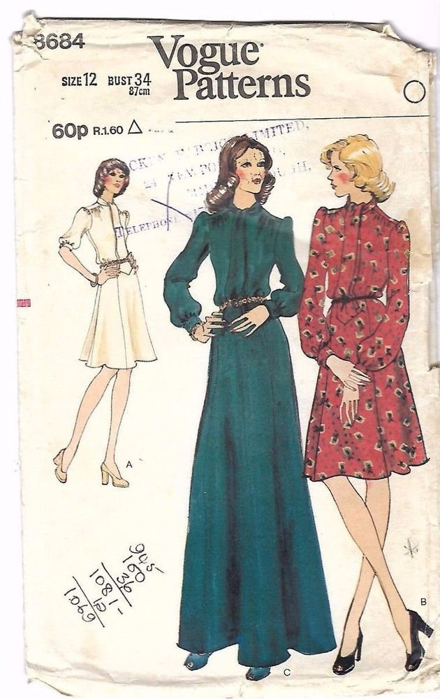 "Vintage 1970s Sewing Pattern Vogue 8684 Rare Tie Evening Dress Complete 12 B 34"" #VoguePatterns"