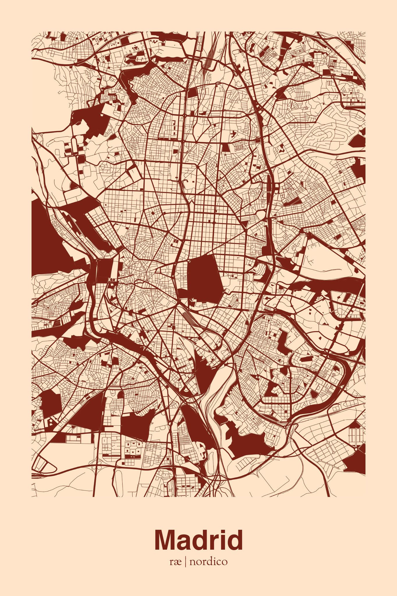 Madrid Map Print With Images Map Design Map Art Urban Mapping