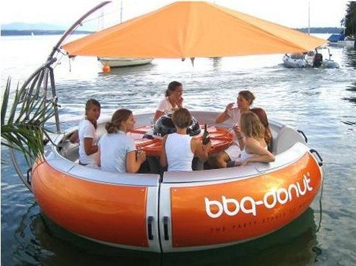 OMG--party boat for a lake with a cooler and a grill. I want one now!!!