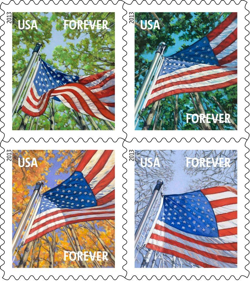 here 39 s your first look at a flag for all seasons a set of four forever stamps that show old. Black Bedroom Furniture Sets. Home Design Ideas