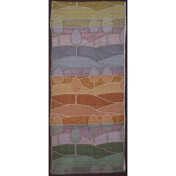 Voysey sample woven wool and silk double cloth c. 1895. Trees and hills in four colourways