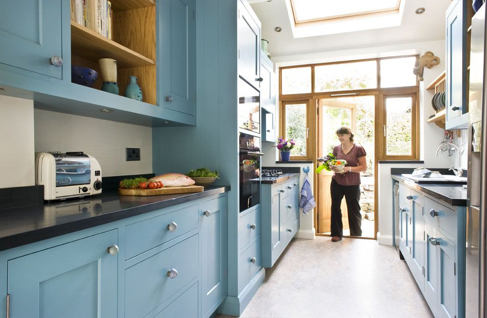 Charmant White Galley Kitchen Designs | Fancy Great Galley Kitchen Design With Light  Blue Cabinets Color .