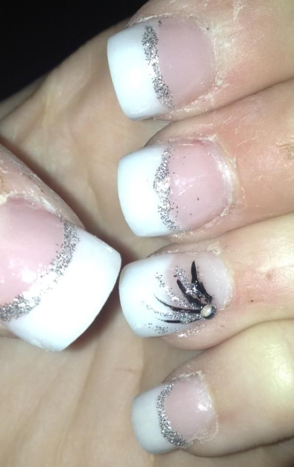 Pink And Whites With Silver And Black Design Prom Nails By Rebecca
