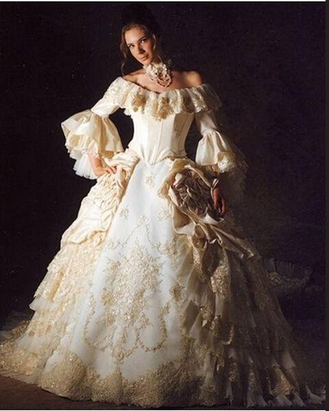 Bola de lujo Modest vestidos de novia Medieval del invierno vestido ...