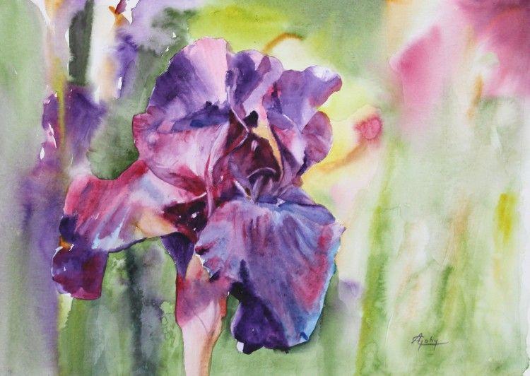 Iris Bleu Adyne Gohy Aquarelle Fleurs Comment Peindre Et Peinture