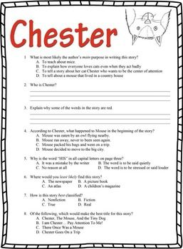 Chester By Melanie Watt Book Test Bonus Book Report Book Report Chester Test Questions