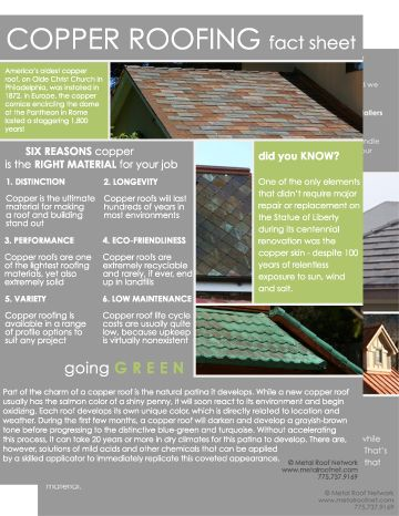 Mrncopperfactsheetpreview 2 With Images Copper Roof Roofing Facts