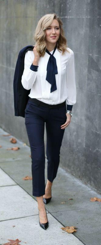 c54b0599ada Navy tuxedo pants and jacket + tie neck blouse  tommyhilfiger  tommyhilfiger   spon