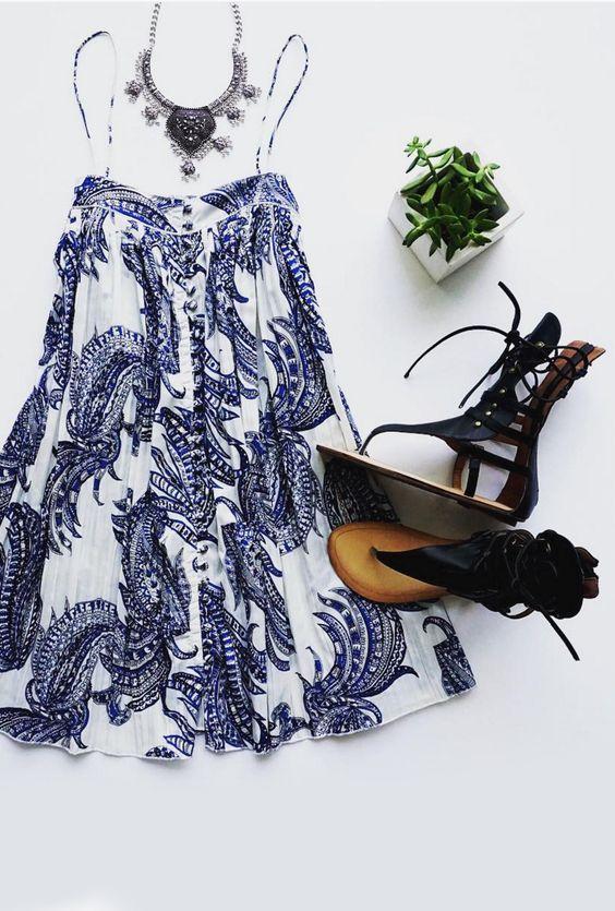 On The Road Solange Blue Print Dress