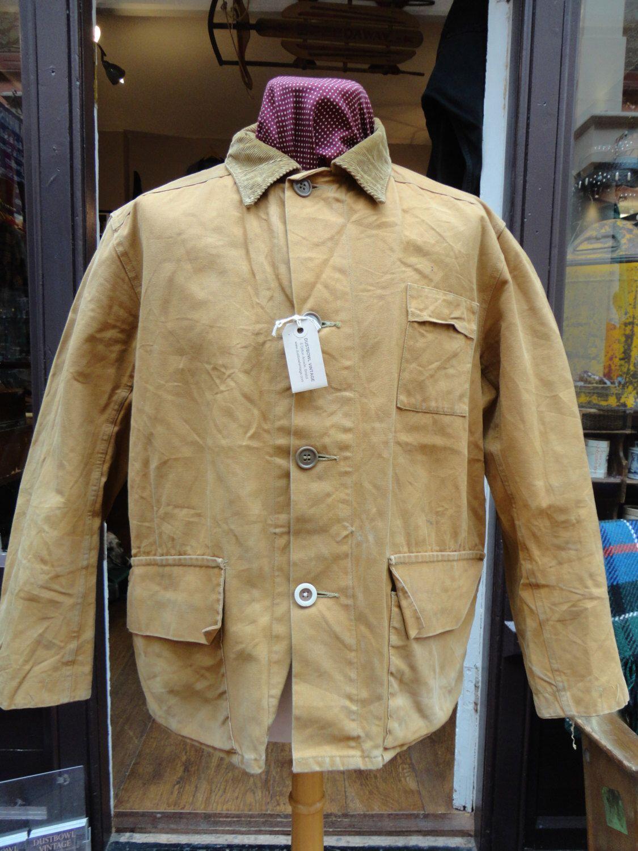d73b69d9c0603 Vintage 1940s Duxbak tan brown cotton canvas tincloth flannel lined duck  hunting utility jacket 50
