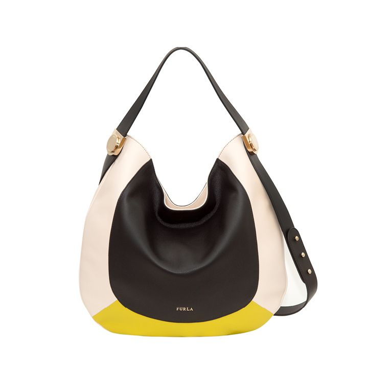 bbc947116d Furla Luna - Sacca - ONYX BLACK CONCHIGLIA LIGHT NUDEJADE ACID YELLOW