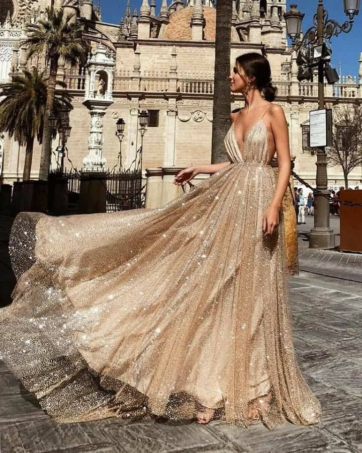 Spaghetti Sequin Tulle Prom Dresses, Champagne Gold Prom Dresses, Prom Dresses,PD190542