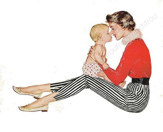 DIGITAL DOWNLOAD DIGITAL DOWNLOAD VINTAGE mid century illustration pinup mother and child 10.5 inches by 8.5 inches high resolution 400 dpi easy